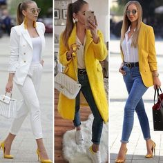 Coordinated chic matching outfit ideas – Just Trendy Girls Pretty Outfits, Stylish Outfits, Cute Outfits, Fashion Outfits, Womens Fashion, Yellow Shoes Outfit, Yellow Blazer, Look Blazer, Blazer Outfits