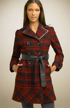 Guess' red plaid trench