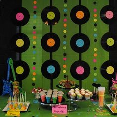 """switch up to pictures in large squares of twins and intersperse with little dr. seuss """"book covers"""" that we make on the inbetween colored dots (or whatever the inbetween lines are).: (decorating with rocks party ideas) 50s Theme Parties, 80s Birthday Parties, Music Themed Parties, Birthday Party Themes, 5th Birthday, Birthday Backdrop, Birthday Ideas, Dance Party Themes, Elvis Birthday Party"""