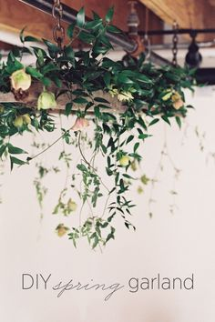 We adore this absolutely lovely spring garland DIY sent to us by Ashley Sawtelle and Ali of the European Flower Shop! Learn how to make this DIY spring garland that will be great for your organic themed wedding reception. #diyweddinggarland #diyweddingdecor #diyweddingtutorial #springgarlanddiy
