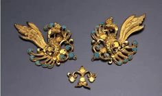 Set of 3 gold plaques. Inlaid with glass, Tang Dynasty. Miho Museum, Japan