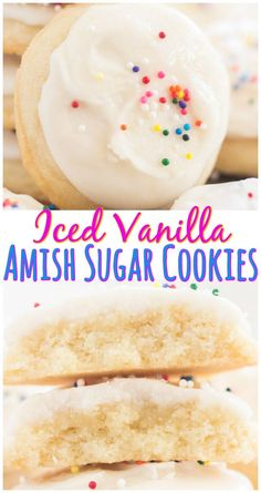 Soft, puffy, melt-in-your-mouth Iced Vanilla Amish Sugar Cookies! These could no… Soft, puffy, melt-in-your-mouth Iced Vanilla Amish Sugar Cookies! These could not be easier and are made with common pantry ingredients! Amish Sugar Cookies, Drop Sugar Cookies, Cream Cheese Sugar Cookies, Pumpkin Sugar Cookies, Vanilla Cookies, Iced Cookies, Vanilla Icing, Cake Cookies, Drop Sugar Cookie Recipe