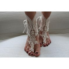 wedding shoes,summer shoes,barefoot sandals,bridal accessories, ivory... ($35) via Polyvore featuring shoes ve sandals