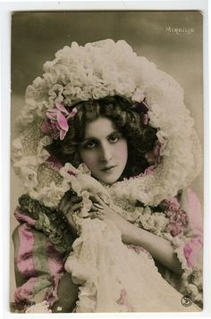 c 1910 French Theater Music Hall PRETTY MIREILE Cabaret tinted photo postcard