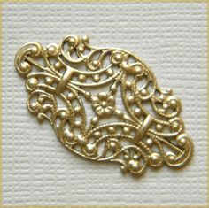 Raw Brass Filigree Oval Vintage Style Oblong by DecadentBrassGlass