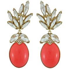 Ciner for Sophie Coral Crush Crystal Leaf Drop Earrings ($391) ❤ liked on Polyvore featuring jewelry, earrings, серьги, swarovski crystal jewellery, 18 karat gold earrings, 18k earrings, coral drop earrings and coral earrings