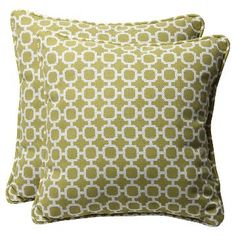 Outdoor 2-Piece Square Toss Pillow Set - Green/White Geometric 18
