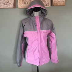 Dry wear Jacket Great gray and pink jacket. Has zippers and Velcro to close. Does have minor pull on inside but does not effect wear. Has never been worn Stearns Jackets & Coats