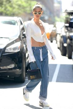Get the latest Bella Hadid style news, photos, and videos from E! Nike Blazers Outfit, Blazer Outfits, Sporty Outfits, Cute Outfits, Bella Hadid Nike, Bella Hadid Outfits, Bella Hadid Style, Off White Blazer, Skinny