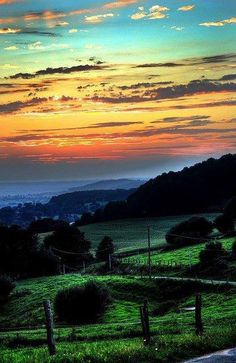 Rolling hills of Normandy, France
