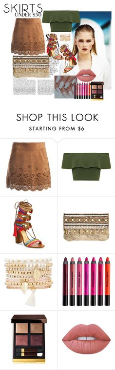 """""""Skirt"""" by ahnemusic ❤ liked on Polyvore featuring Whiteley, MISCHA, Sans Souci, WearAll, Schutz, Skemo, Charlotte Russe, Urban Decay, Tom Ford and Lime Crime"""