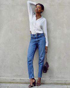 Street Style Calça Jeans Camisa Listrada