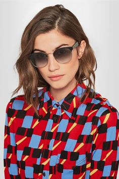 Prada - Round-frame Acetate And Gold-tone Sunglasses - Black - One size
