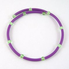 Child's Memory Wire Choker Necklace Purple and Green
