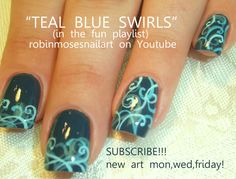 Nail-art by Robin Moses teal filigree  http://www.youtube.com/watch?v=wV76QSw_XTE