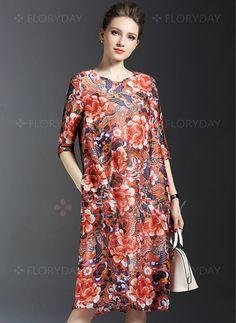 Dresses - $44.53 - Floral Half Sleeve Knee-Length Vintage Dresses (1955101920)