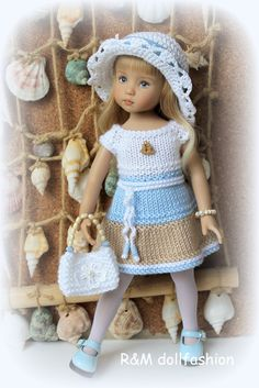 "Knitted outfit for 13"" Effner Little Darling dolls"