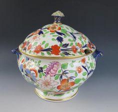 Large Antique English Porcelain Lidded Soup Tureen, Colonial ...