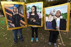 Could be fun to have the class do this at an art walk. This would make a great photo op for an art show. Have the kids pose as these paintings. School Art Projects, Art School, Arte Elemental, Classe D'art, Tableaux Vivants, Crazy Costumes, Ecole Art, Art Walk, Collaborative Art