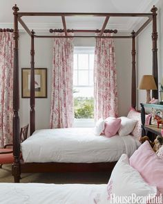 Twin beds in the daughter's room are copies of beds at Oscar de la Renta's house in the Dominican Republic.