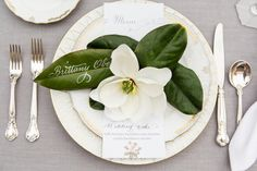 Southern tabletop decor magnolia leaves with calligraphy