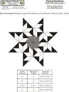 Free paper piecing patterns from Paper Pieces..