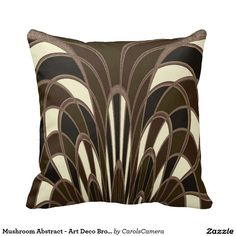 Mushroom Abstract - Art Deco Brown Pillows