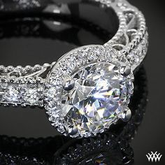 Verragio Beaded Pave Diamond Engagement Ring from the Verragio Venetian Collection.