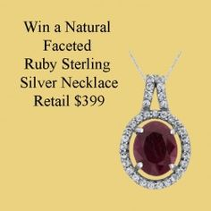 win a Natural Faceted Ruby Sterling Silver #Necklace Retail $399 ^_^ http://www.pintalabios.info/en/fashion-giveaways/view/en/2784 #International #Jewelry #bbloggers #Giweaway