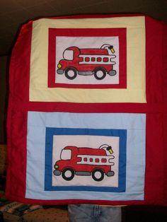 Pottery Barn Kid Fire Truck Nursery Crib Bedding Set Quilt