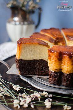 Magic chocolate cake with baked custard flan on the bottom
