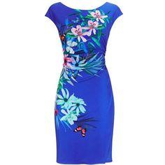 Blue Jersey Wrap Dress ($65) ❤ liked on Polyvore featuring dresses, wrap dresses, blue jersey, jersey wrap dress, jersey dress and blue jersey dress