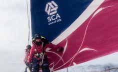 April 1, 2015. Leg 5 to Itajai onboard Team SCA. Day 14. Stacey Jackson and Liz Wardley at the bow Anna-Lena Elled / Team SCA / Volvo Ocean Race
