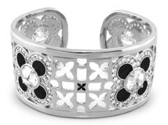 Lauren G. Adams Floral Knights Cuff with black enamel and cubic zirconia's.