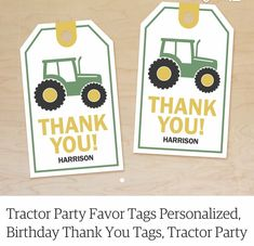 Party Favor Tags, Party Favors, Tractor Birthday, Birthday Thank You, Thank You Tags, Personalized Tags, Tractors, Custom Labels, Personalised Signs