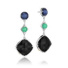#Tacori style no. SE169352719. You are sure to be the Queen of the Night in these dangling Tacori earrings. The deep blue hue gently resting at the top of your ears speaks volumes to your sophisticated style, while the emerald green pop of color in the middle adds fun and playful style, all culminating in a plush black onyx cushion cut stone for added glamour.