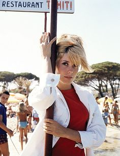 Catherine Deneuve in St. Tropez photographed by Milton Greene, 1965.