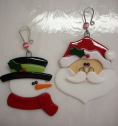Fused Glass Santa Ornament Snowman Ornament by GlassicArtistry, $30.00