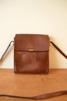Brown Leather Unisex Messenger Bag Satchel by sonjasusanna on Etsy