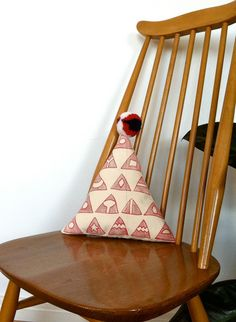 Triangle of Triangles toy cushion Handmade Art, Handmade Gifts, Triangles, Throw Pillows, Crafty, Embroidery, Cream, Toys, Furniture