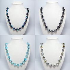 This vintage crystal necklace is made up of Czech Preciosa faceted glass beads in graduated size of 14mm with easy-to-use end caps.  You can choose among 5 colors Black AB, Hematite, Aqua AB, Shadow AB, and Clear AB  Total length of this crystal necklace is about 46 cm (18 inches) and net weight is 68g.   This shining crystal necklace looks beautiful and stylish, even in winter.  Made in Czech Republic.