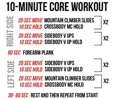 10-minute core workout you can do anywhere -- perfect to do at home or while traveling! Click for full exercises descriptions. pumpsandiron.com