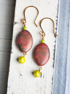 Rustic Red Lime Green Gold Earrings by beesandbuttercups on Etsy, $35.00