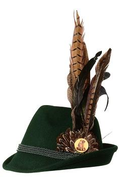 Klassischer Trachten-Hut für Damen von Milka Lifestyle by Lola Paltinger in Tannengrün. Der modische Hut ist mit einer großen Federn-Brosche bestückt, die je nach Wunsch an verschiedenen Stellen am Hut angebracht werden kann. Die Brosche besteht aus langen Federn in verschiedenen Braun-, Grün- und Beigetönen und hat ein dekoratives Retro-Bild. Alle Milka Accessoires sind exklusiv online bei LODENFREY erhältlich.
