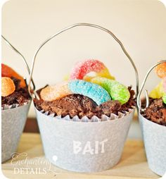 For cupcakes at a fishing party, make chocolate cupcakes with a cookie crumb topping (to look like dirt), and add sour gummy worms. Bait buckets!!