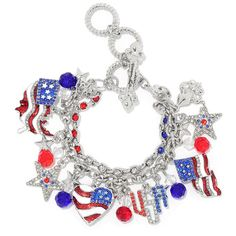 """Ritzy Couture American Flag Charm Adjustable Toggle Bracelet (Silvertone). You're proud be an American, so why not proudly wear this bold bracelet?. This silvertone accessory features a collection of patriotic and Americana-themed enamel charms and glass stones. In this two-strand bracelet, one strand boasts a line of red, white and blue glass stones while the second is a cable link chain that holds the charms. Silvertone. Adjustable and fits most. Measures approximately 7.5"""" to 8-1/4""""..."""