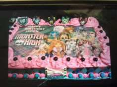 Birthday Cake Monster High theme in buttercream sugar sheet print