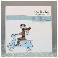 Card featuring Scooter Diva by Carolina Buchting