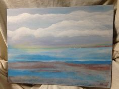 ROUNDING The POINT Seascape Semi-Abstract Dawn original painting w/texture, beach clouds ocean blue gray brown white SOLD