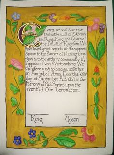 """One of my scrolls for the SCA.  Done in the Flemish(?) """"Squished bug and flower"""" design"""